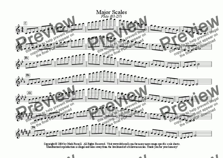 page one of flute scales - ENTIRE RANGE - major scales only - all ranges