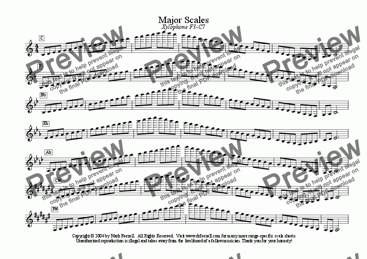 xylophone scales - ENTIRE RANGE - major scales only for Solo instrument  (Baritone) by Mark Feezell, Ph D  - Sheet Music PDF file to download