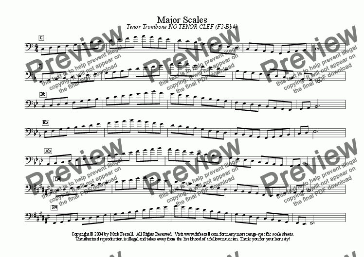 trombone scales - ENTIRE RANGE - major scales only - all ranges for Solo  instrument (Trombone) by Mark Feezell, Ph D  - Sheet Music PDF file to