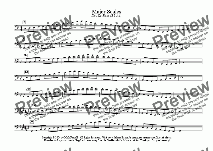 page one of double bass scales - ENTIRE RANGE - major scales only