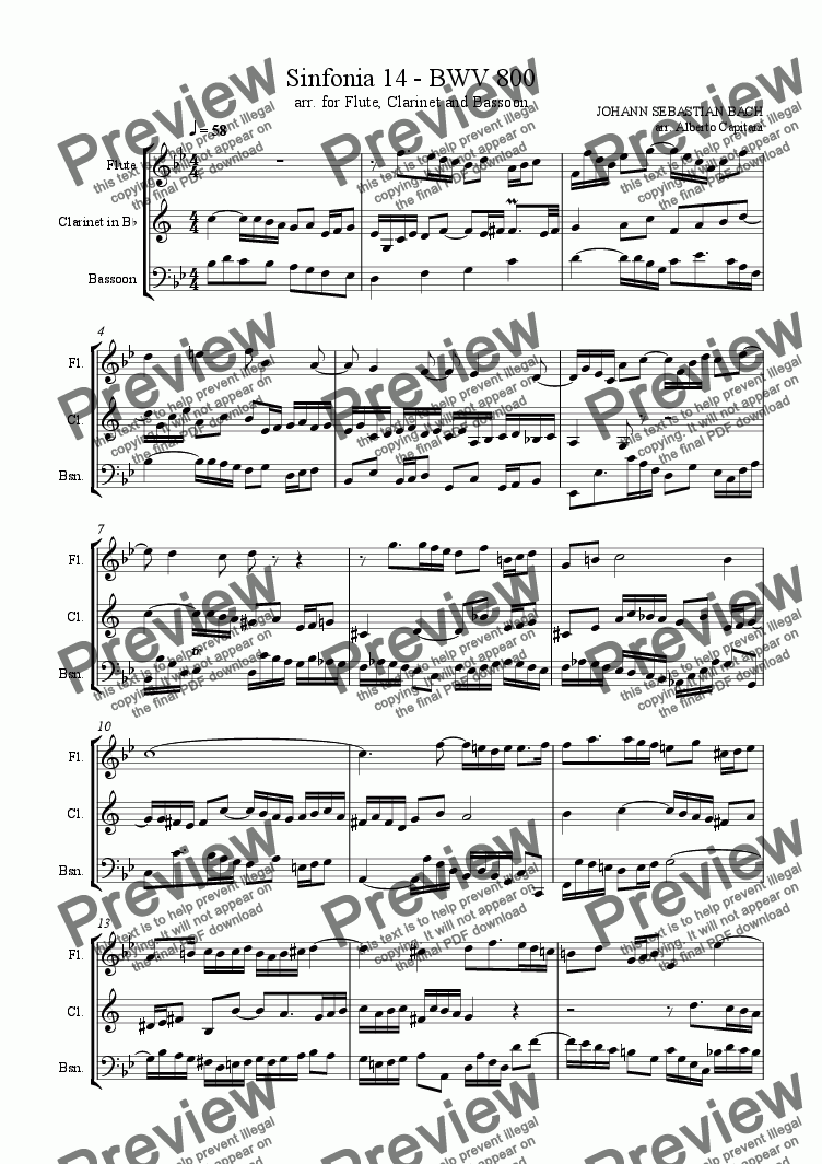 page one of Sinfonia 14 - BWV 800 - arr. for Flute, Clarinet and Bassoon