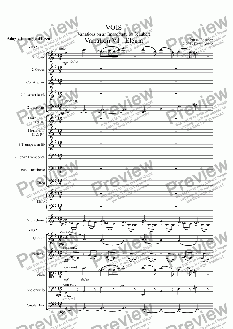 page one of VOIS - Variations on an Impromptu by Schubert - Variation VI - Elegia