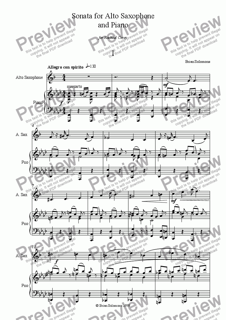page one of Sonata for Saxophone and Piano (1st movement)ASALTTEXT