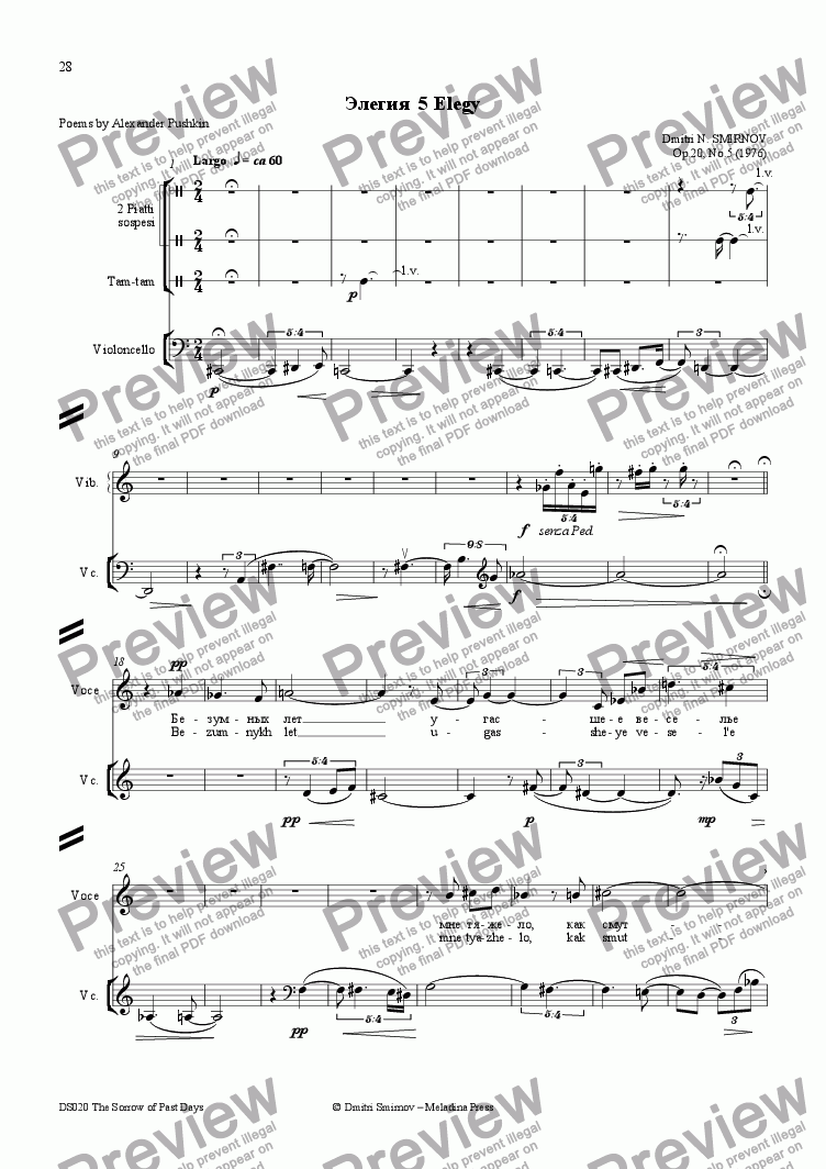 page one of SORROW OF PAST DAYS (Pushkin) op20/5. Elegy. Voice, fl, perc, vln, vc