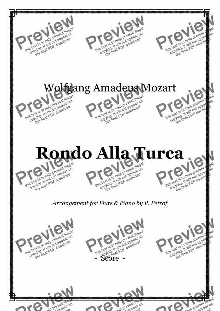 Alla Turca Mozart mozart - rondo alla turca - flute and piano for solo flute + pianow. a.  mozart - sheet music pdf file to download