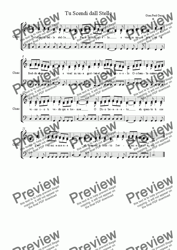 page one of Tu Scendi dalle Stelle (Italian Christmas Song) - Download sheet music