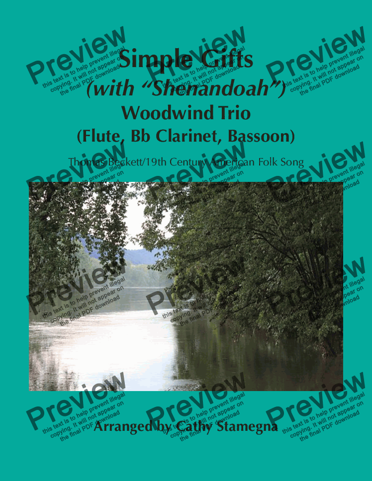 "page one of Simple Gifts (with ""Shenandoah"") (Woodwind Trio-Flute, Bb Clarinet, Bassoon)"