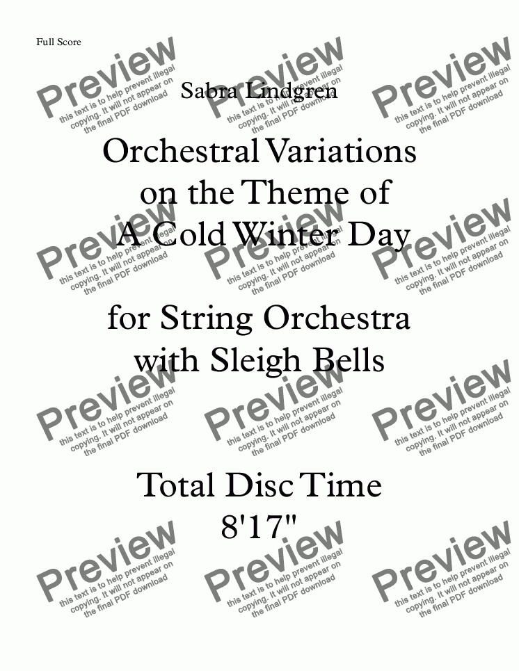 page one of Orchestral Variations on the Theme of  A Cold Winter Day for String Orchestra and Sleigh Bells