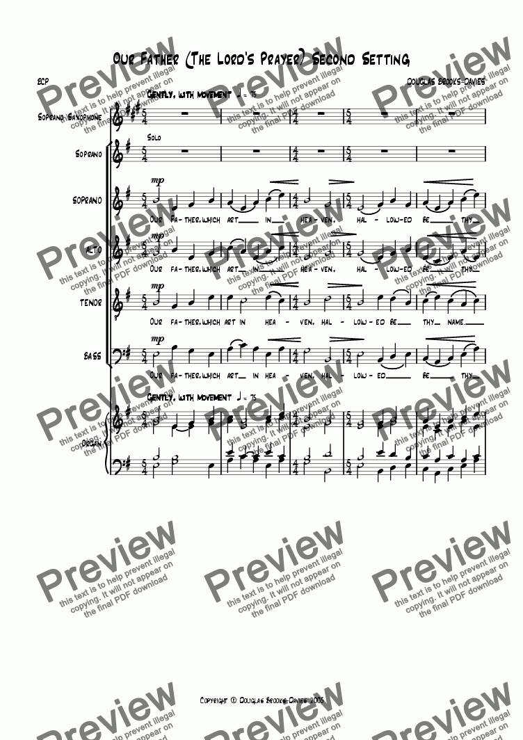 page one of Brooks-Davies: Our Father (The Lord's Prayer) 2nd setting Soprano sax + SSATB choir + keyboard