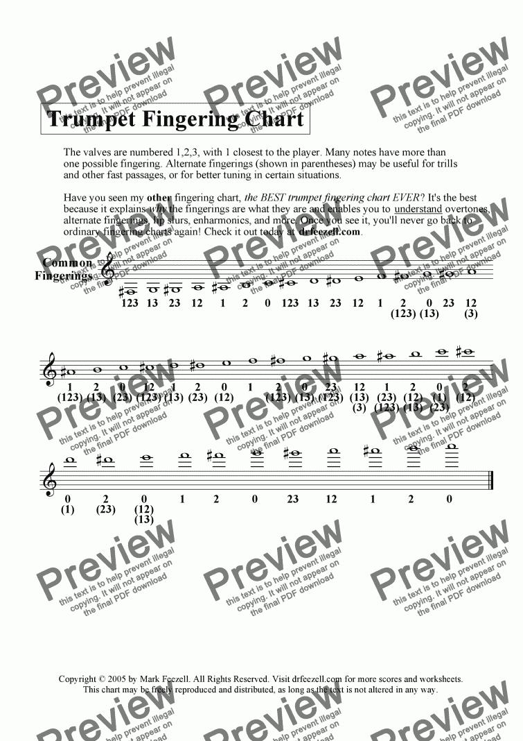trumpet fingering chart handout - FREE - alternate fingerings also ...