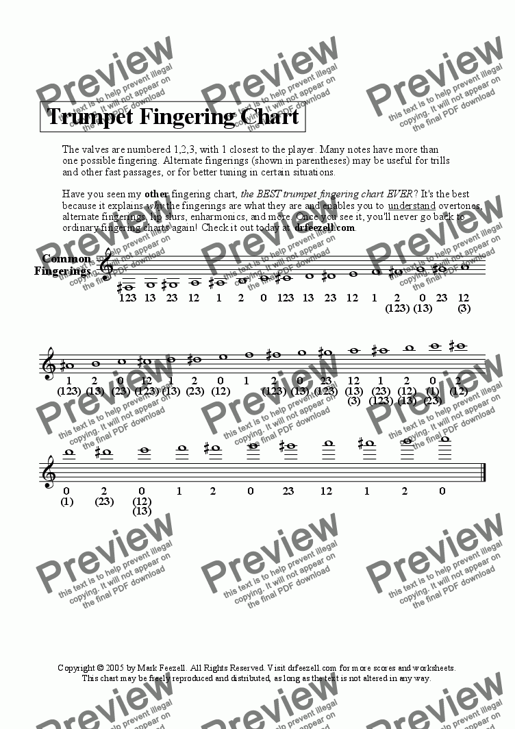 Trumpet Chart Handout Free Alternate S Also Included