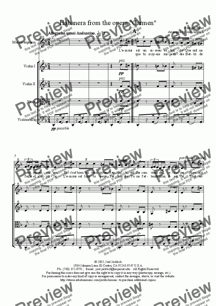 "page one of Habanera from ""Carmen"" for String Quartet"