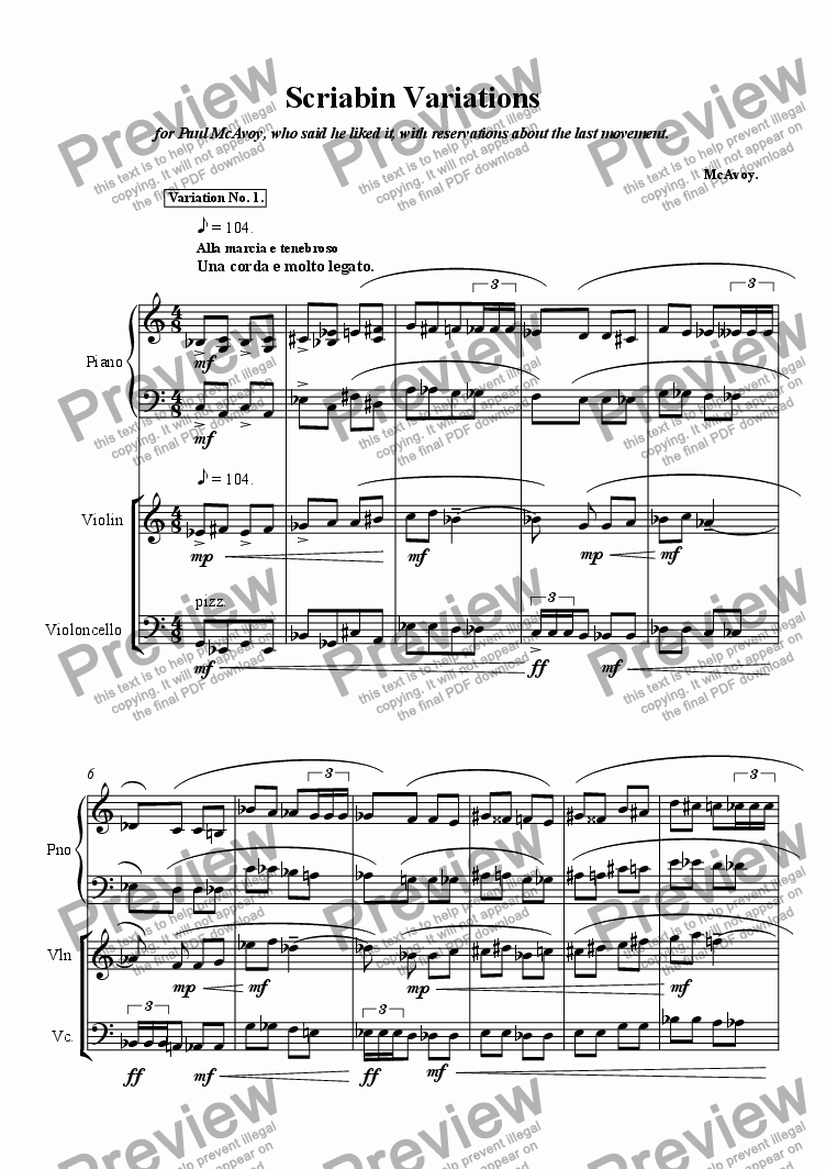 page one of Scriabin VariationsASALTTEXT