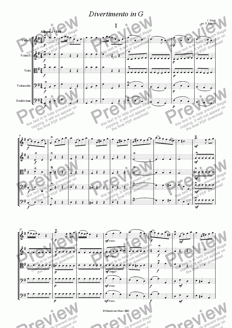 page one of Divertimento in G major