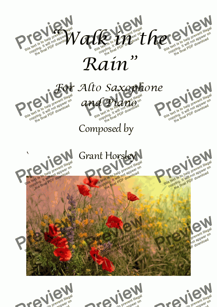 page one of Walk in the Rain For Alto Sax and Piano (available for Tenor)