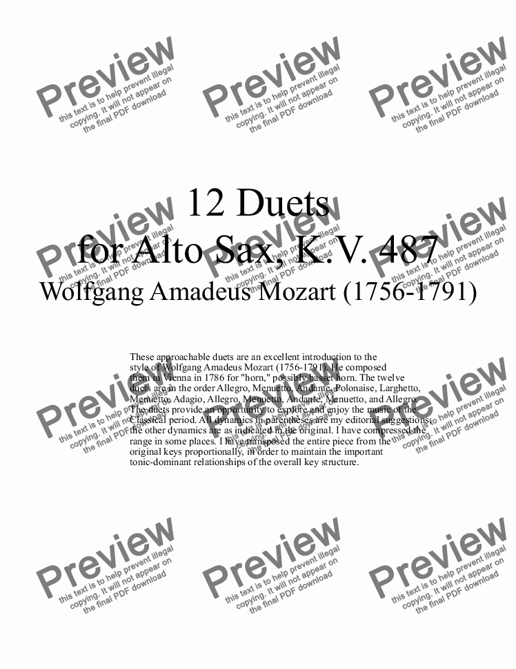 page one of 12 Duets for Alto Sax - Twelve saxophone duets by Mozart, KV 487