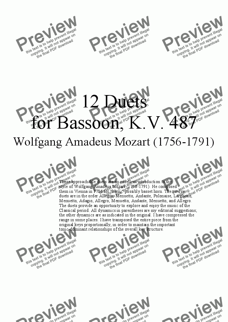page one of 12 Duets for Bassoon - Twelve duets by Mozart, KV 487