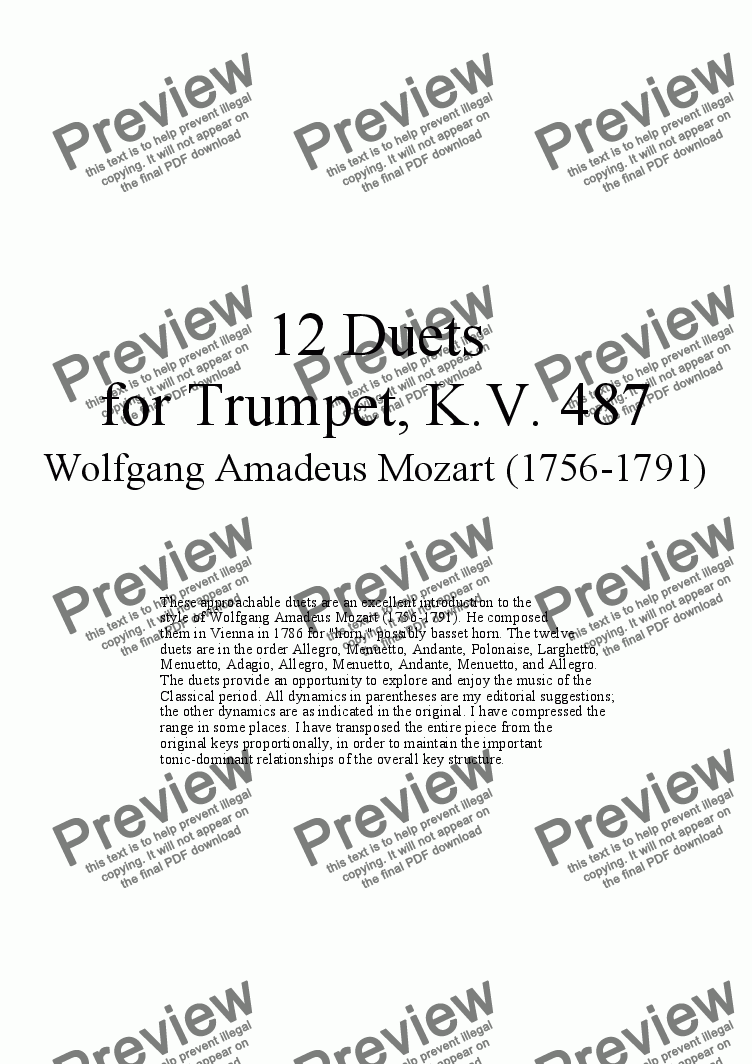 page one of 12 Duets for Trumpet - Twelve duets by Mozart, KV 487