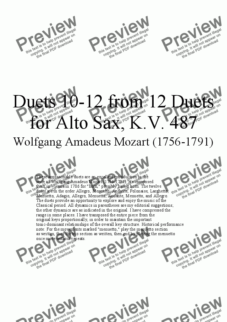 page one of Duets 10-12 from 12 alto sax duets - Twelve duets for saxophone by Mozart, KV 487