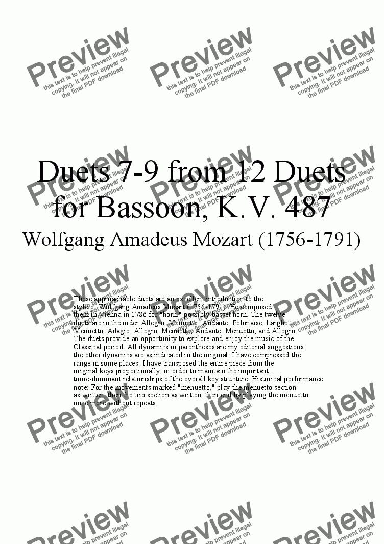 page one of Duets 7-9 from 12 bassoon duets - Twelve duets by Mozart, KV 487