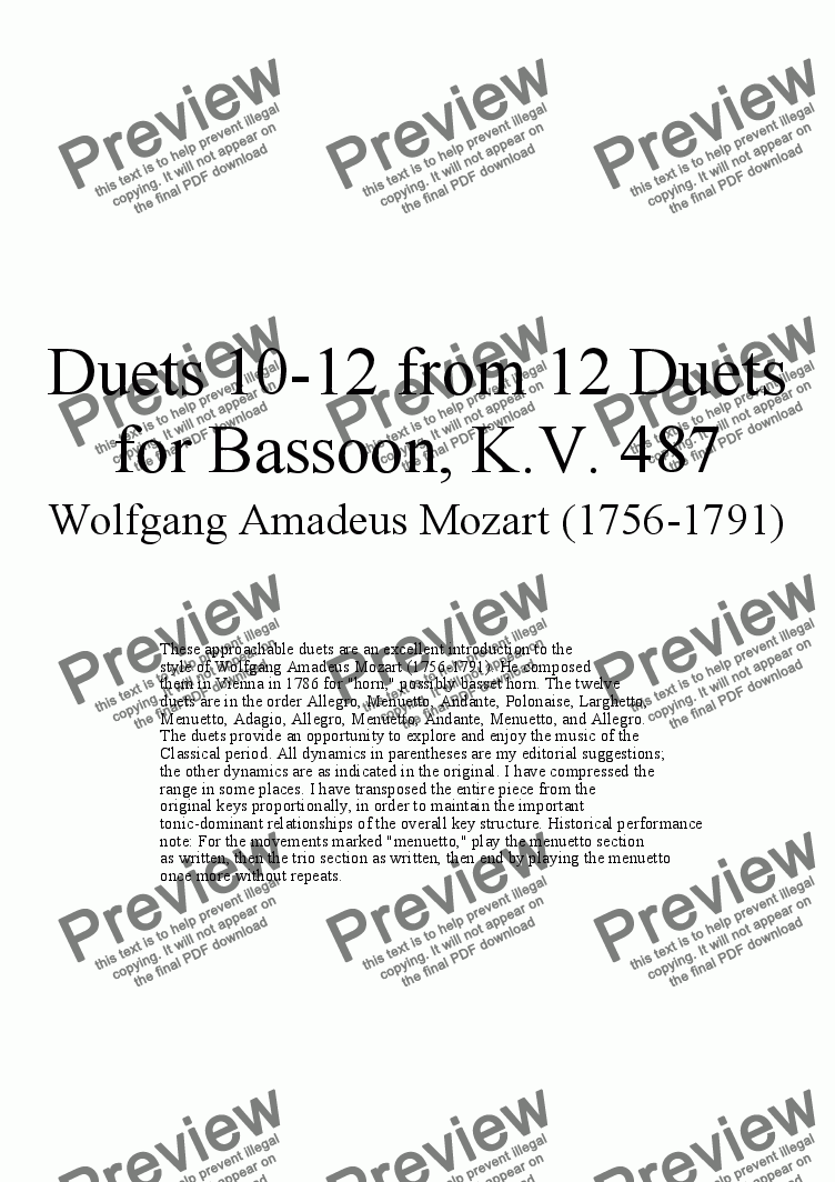 page one of Duets 10-12 from 12 bassoon duets - Twelve duets by Mozart, KV 487