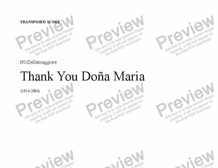 page one of Thank you Doña Maria (Transp. score)