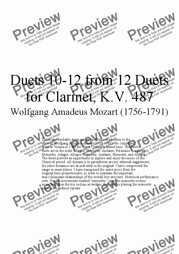 page one of Duets 10-12 from 12 clarinet duets - Twelve duets by Mozart, KV 487