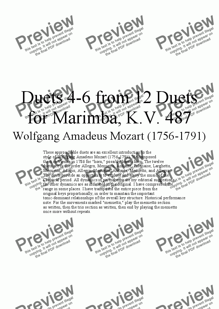 page one of Duets 4-6 from 12 marimba duets - Twelve duets by Mozart, KV 487