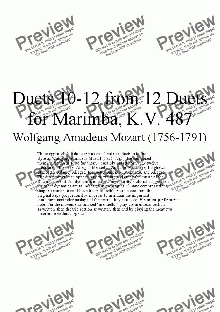 page one of Duets 10-12 from 12 marimba duets - Twelve duets by Mozart, KV 487