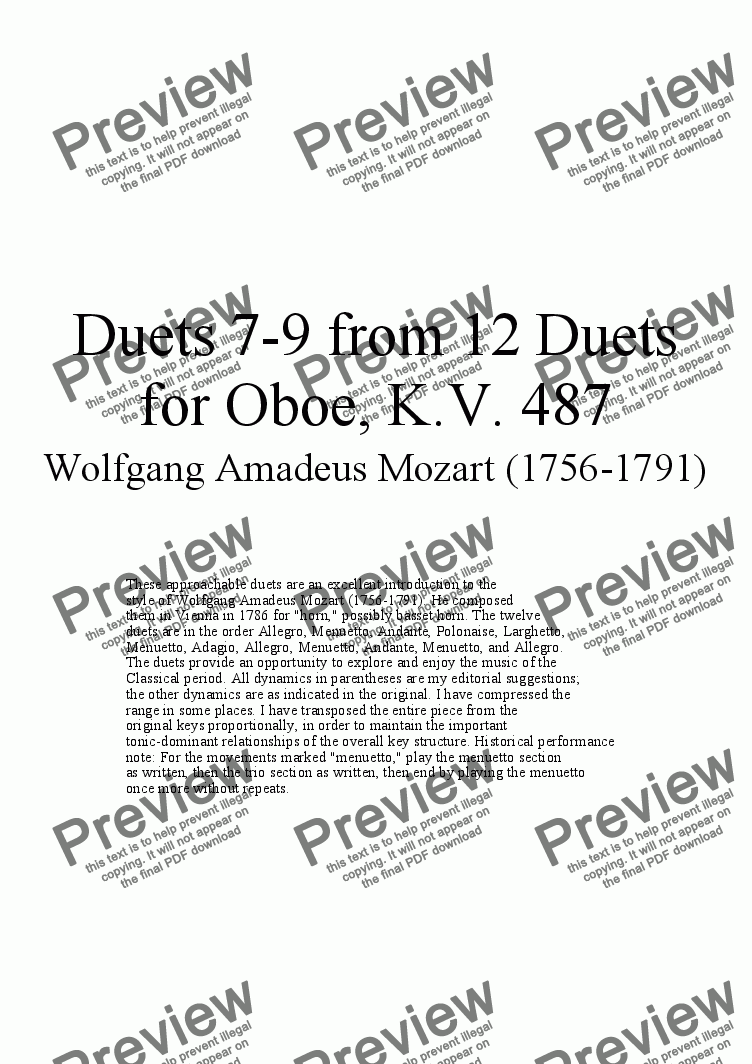 page one of Duets 7-9 from 12 oboe duets - Twelve duets by Mozart, KV 487