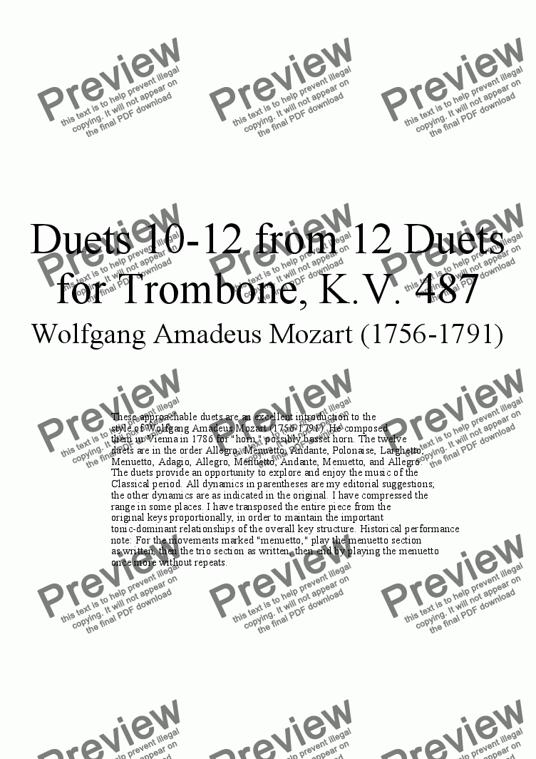 page one of Duets 10-12 from 12 trombone duets - Twelve duets by Mozart, KV 487