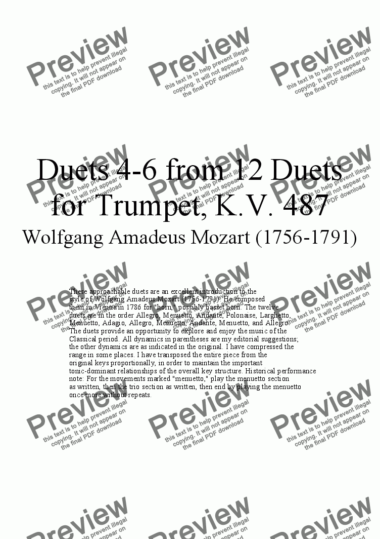 page one of Duets 4-6 from 12 trumpet duets - Twelve duets by Mozart, KV 487