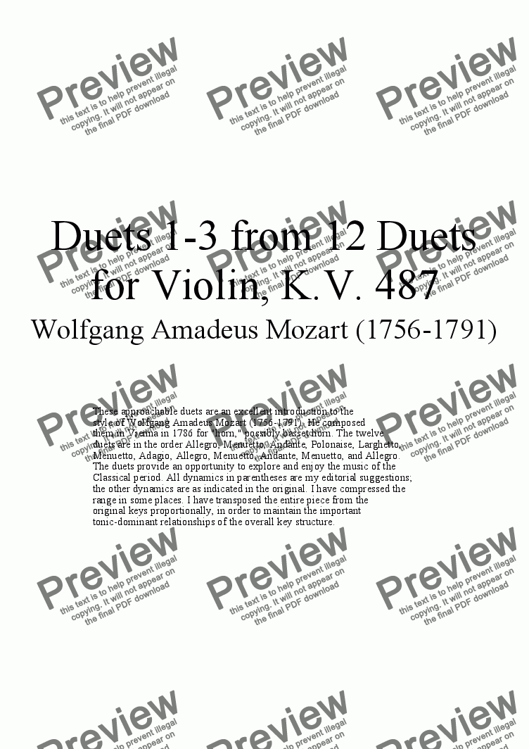 page one of Duets 1-3 from 12 violin duets - Twelve duets by Mozart, KV 487