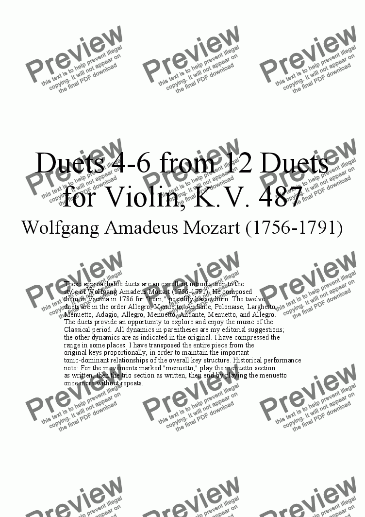 page one of Duets 4-6 from 12 violin duets - Twelve duets by Mozart, KV 487