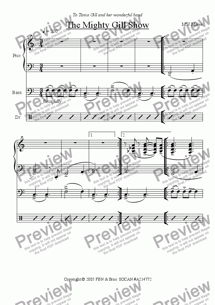 page one of Toronto Pianist Trilogy III - The Mighty Gill Show (for Tania Gill)