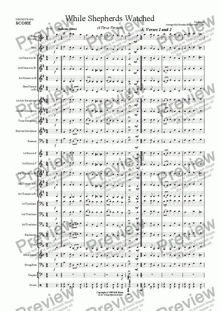 page one of While Shepherds Watched (Christmas) - Concert Band