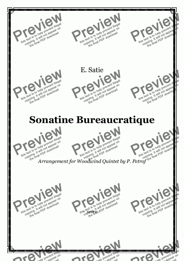 page one of Satie - Sonatine Bureaucratique - Woodwind Quintet