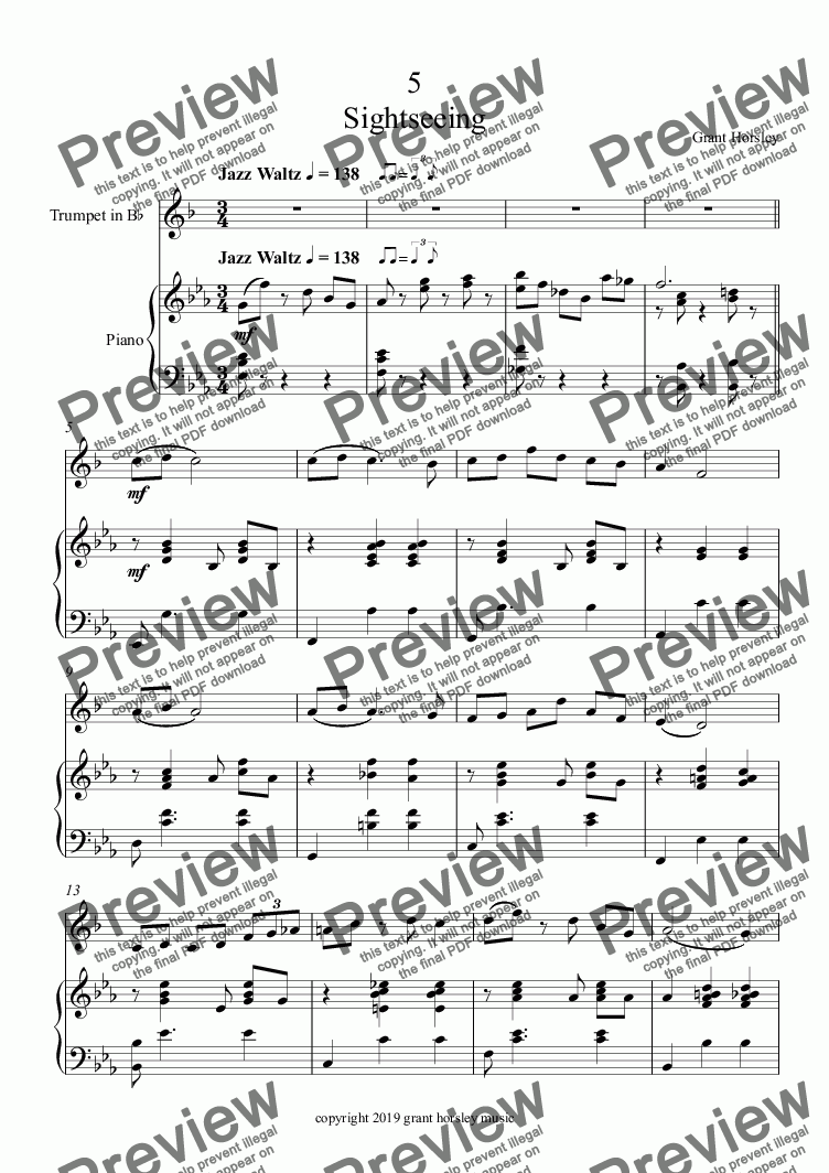 page one of Sightseeing - A Jazz Waltz for Trumpet and Piano