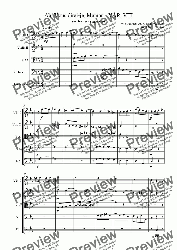 page one of Ah! Vous dirai-je, Maman - KV 265 - VAR. VIII - arr. for String orchestra
