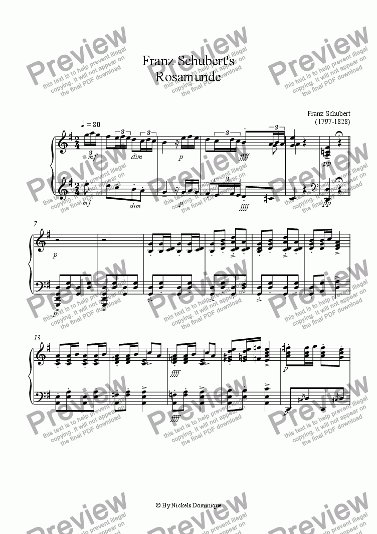 page one of Franz Schubert's Rosamunde