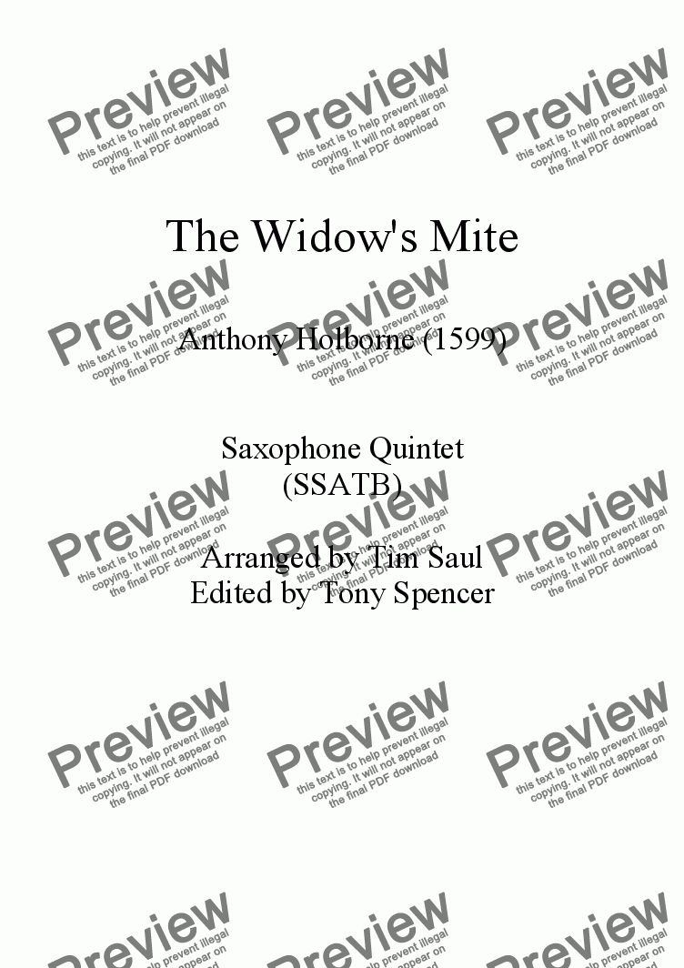 page one of The Widow's Mite