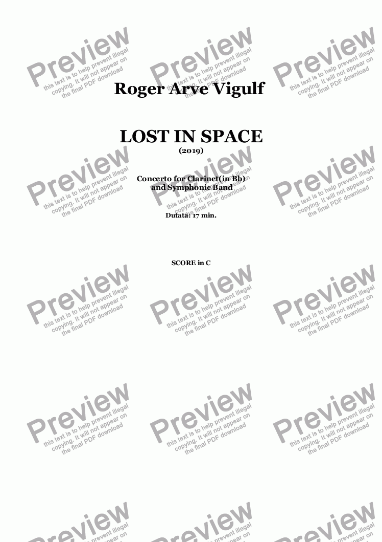 page one of Roger Arve Vigulf - LOST IN SPACE - Concerto 2019 - Full Score in C