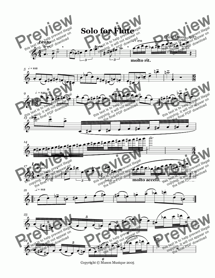page one of Solo For Flute-unaccompanied
