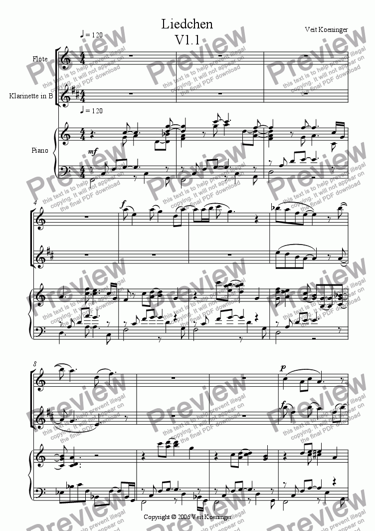 page one of Liedchen for flute, clarinet and piano