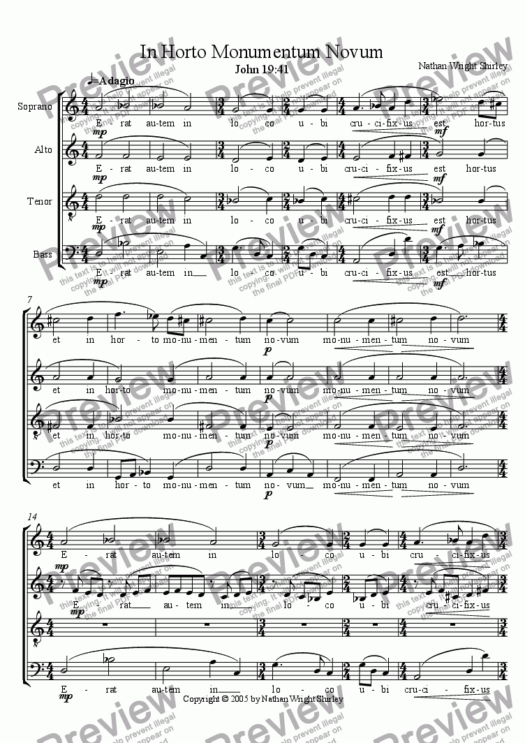 page one of In Horto Monumentum Novum