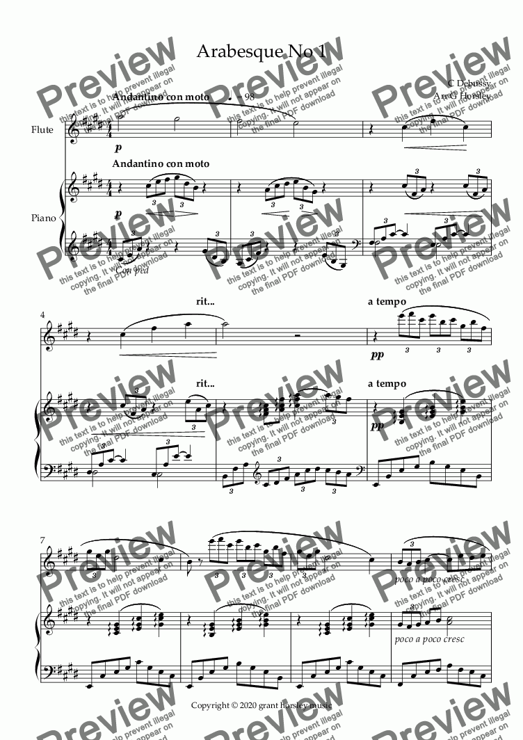 page one of Arabesque No 1 - for Flute and Piano- Advanced Intermediate