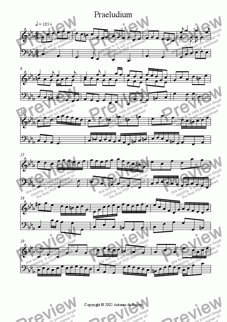 page one of Preludium in c minor