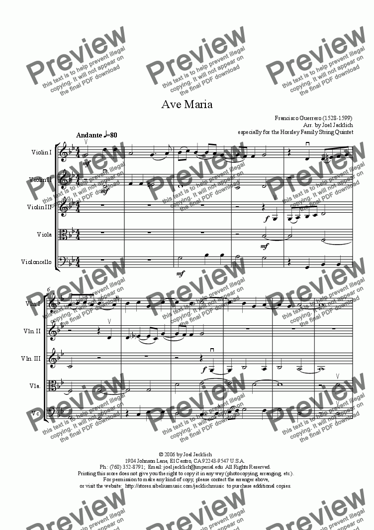 page one of Ave Maria (1599) (3 violins, viola, and cello)