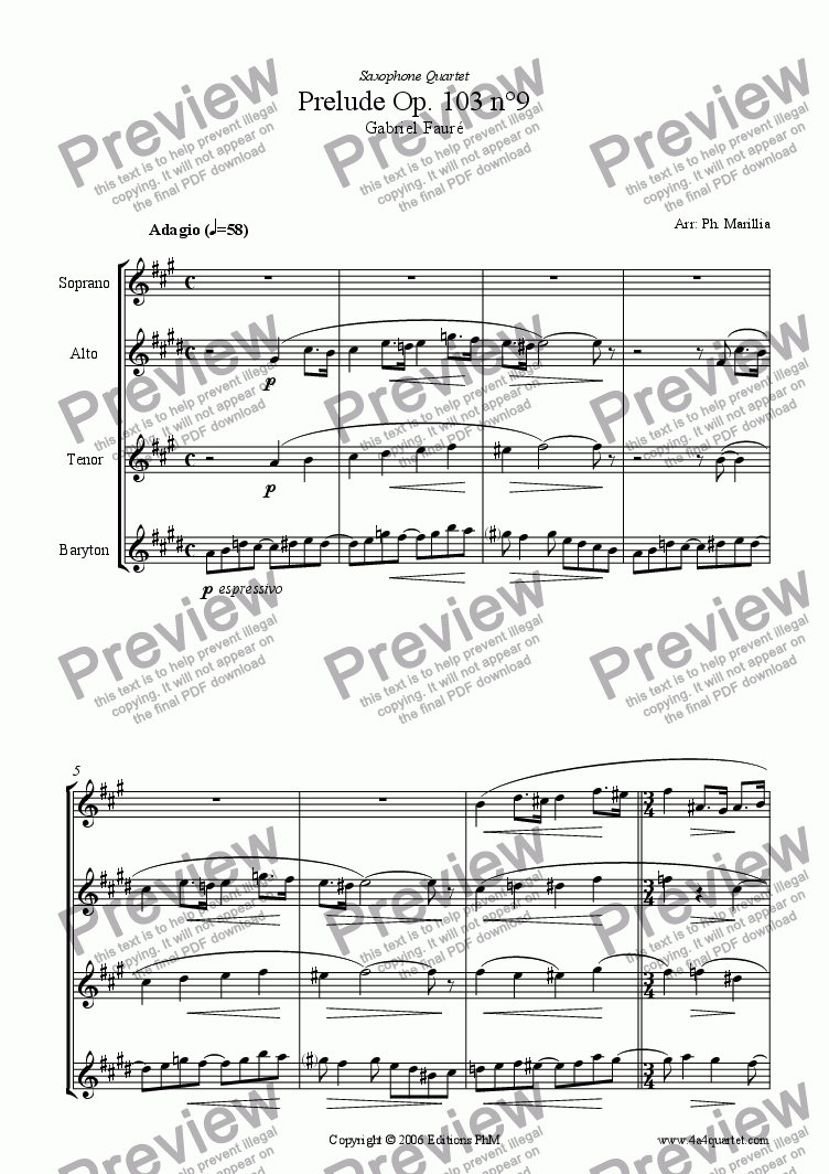 page one of Faur� - Pr�lude N�9 Op. 103 (Sax Quartet)