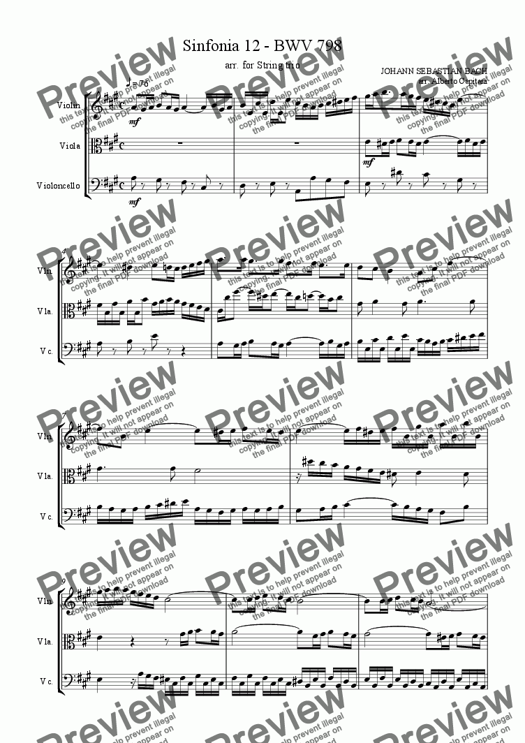 page one of Sinfonia 12 - BWV 798 - arr. for String trio
